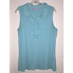 Lily Pulitzer Sleeveless Top Ruffle Front